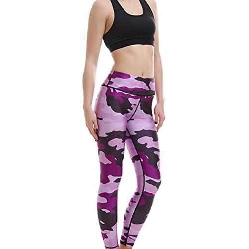 Hot Fashion Purple Camouflage Digital Print Yoga Pants Slim Stretchy Tight Sports Skinny Leggings