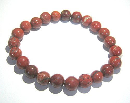CRYSTAL MIRACLE EXCELLENT RED JASPER BEADED ROUND BRACELET CRYSTAL HEALING GEMSTONE MEN WOMEN GIFT FASHION WICCA JEWELRY ACCESSORY PEACE POWERFUL HEALTH WEALTH PROSPERITY MEDITATION - Jasper Round