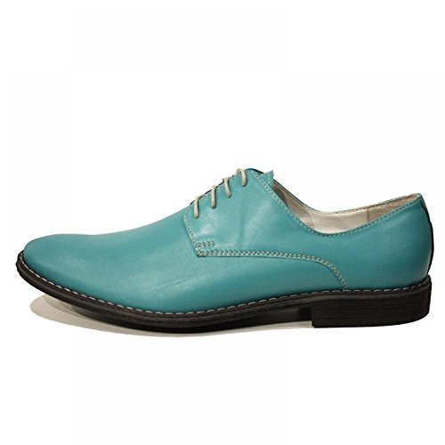 Blue Lagoon Colorful élégant Chaussures Hommes - Handmade Colorful italiennes Chaussures en cuir Oxfords Casual formelle haut de gamme uniques Chaussures Vintage Gift Lace Up Robe Hommes