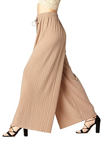 (Conceited Women's High Waisted Wide Leg Pleated Palazzo Pants - Solid Nude - One Size - 902-Khaki)