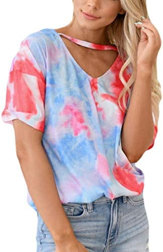 Memela Women`s Casual Tie-Dye T Shirt Summer Fashion Cutout V-Neck Short Sleeve Tees Pullover Tops Loose Fit Cotton Blouse