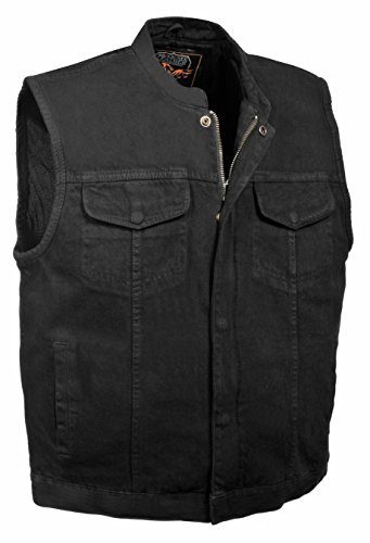 Men's Concealed Snap Denim Club Style Vest w/ Hidden Zipper (Black, L)