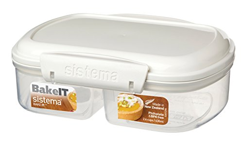 Split Food Container (Sistema Bake It Food Storage for Baking Ingredients, Split Container, 21 Ounce/ 2.6 Cup)