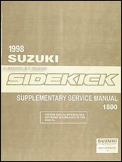 1998 Suzuki Sidekick Sport 1800 Repair Shop Manual Supplement Original - Suzuki Sidekick Repair Manual