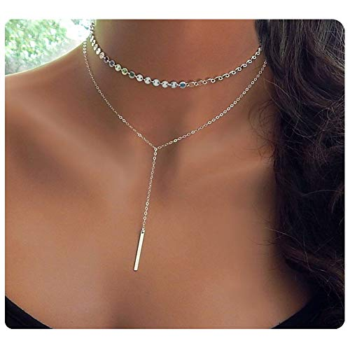 CULOVITY Bar Pendant Choker Necklace White Gold Filled Layered Coin Chain Jewelry for Women ()