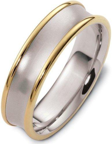 - 6mm Wide Traditional 14 Karat Yellow Gold & Titanium Wedding Band Ring - 11