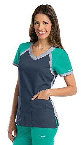 Grey's Anatomy Active Women's 41435 Color Block V-Neck Scrub Top- Steel/Tropic Jade/Moonstruck- (Jade Scrub Top)
