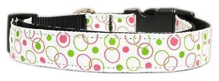 Mirage Pet Products Retro Nylon Ribbon Collar, Medium, White
