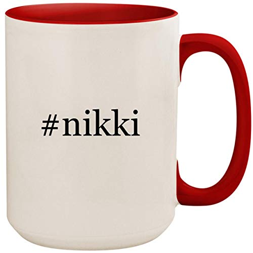 #nikki - 15oz Ceramic Colored Inside and Handle Coffee Mug Cup, Red