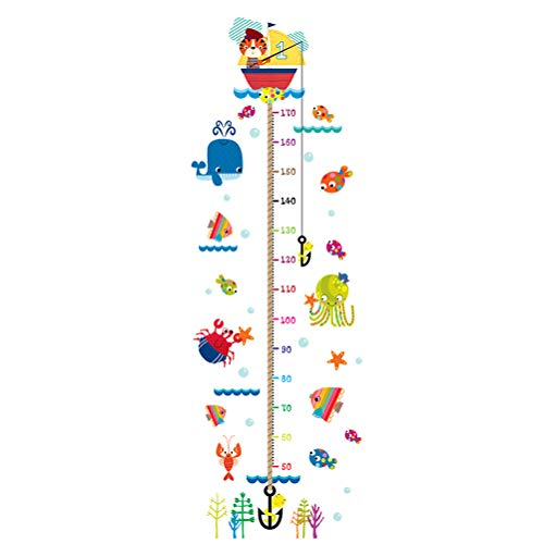 (Kids Height Growth Chart Wall Sticker Measurement Ruler Removable Cat Fish Whale Octopus Crab Cute Cartoon Wallpaper Art Home Décor PVC for Kid Room Bedroom Nursery)