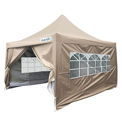 Quictent Silvox Waterproof 10×10′ EZ Pop Up Canopy Commercial Gazebo Party Tent Beige Portable Pyramid-roofed Style Removable Sides With Roller Bag