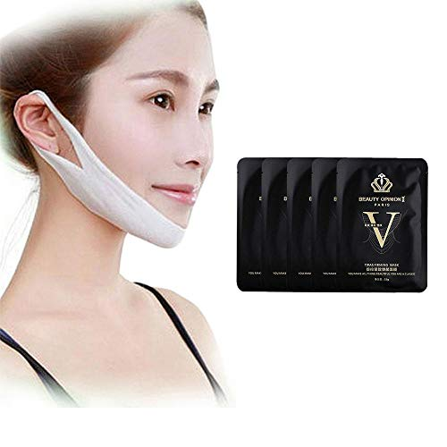 KOBWA V Face Line Belt, Chin Cheek Slim Lift Up Anti Wrinkle Mask Strap Band, V Face Shaping Strap for Anti Aging Wrinkle and Reducing Double Chin (5pcs) - Anti Lifting Mask Treatment Aging