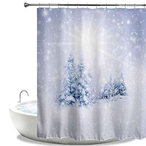 HIYOO Bathroom Art Decorative Polyester Fabric Waterproof Shower Curtain, Winter Snow Design, High-Definition Digital Print, Hooks Included 72