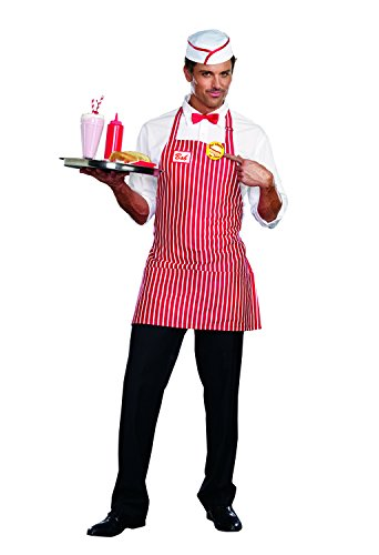Dreamguy by DG Brands Men's 50's Retro Striped Costume, Diner Dude, Red/White, XX-Large