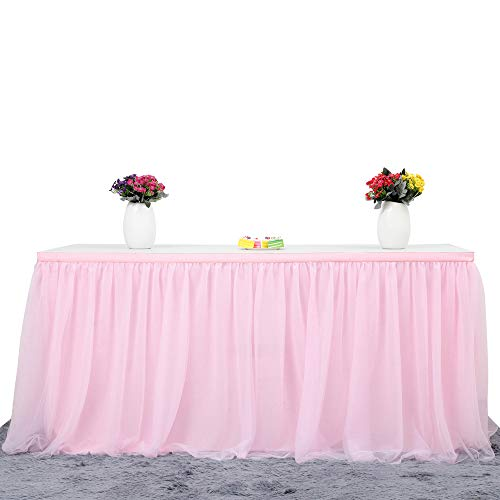 6ft Pink Tulle Table