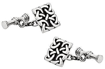 Cuff-Daddy 925 Sterling Silver Celtic Cufflinks with Presentation Box
