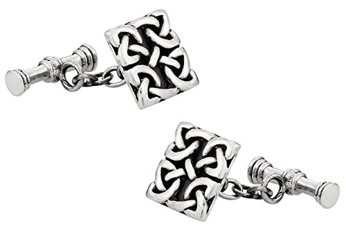 Cuff-Daddy 925 Sterling Silver Celtic Cufflinks with Presentation Box - Silver Tone Sterling Silver Cufflinks