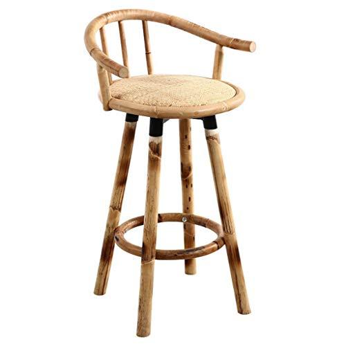 Chairs Retro Taburete de la Barra giratoria de bambu solido de Alta Rattan Bar Sillas con Respaldo y reposapies, for la Barra de Desayuno, Contador, Cocina y 100kg Inicio Soporte Barstools
