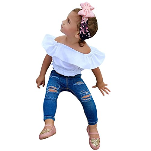 PHOTNO 1 Set Outfits Toddler Kids Baby Girl Fashion Off Shoulder T Shirt Tops Sleeveless+ Jeans Rip Pants Outfit Clothes (2-7T) (3T, ()
