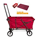 Cheap REDCAMP Collapsible Wagon Cart,Folding Utility Wagon All Terrain Outdoor Beach Sports,Red