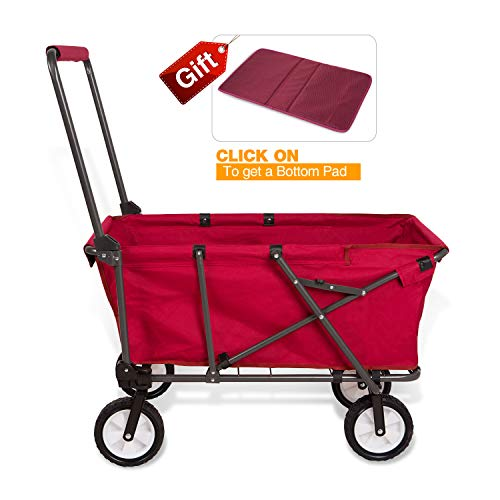 REDCAMP Collapsible Wagon Cart,Folding Utility Wagon All Terrain Outdoor Beach Sports,Red by REDCAMP