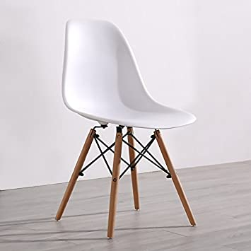 Delightful Plastic Chairs Minimalist Modern Desk Chair Stool Chair Eames Adult Home  Computer Chairs Solid Wood Dining Chair White Packagings: Amazon.co.uk:  Kitchen U0026 ...