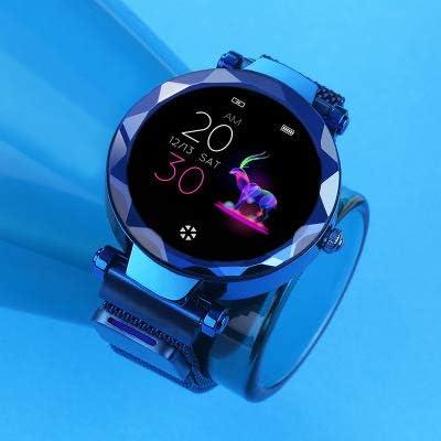 GXYAS Reloj de Pulsera Femenino Inteligente Reloj Ciclo fisiológico frecuencia cardíaca presión Arterial monitoreo del sueño Moda Pantalla táctilReloj Multifuncional-Blue