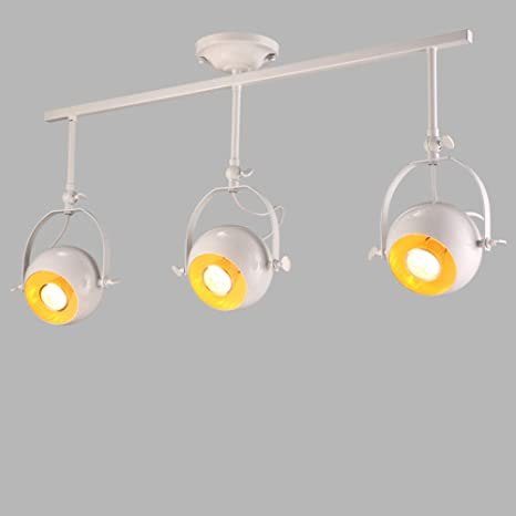 Retro, luz de techo blanca, luz industrial, 3 luces colgantes ...