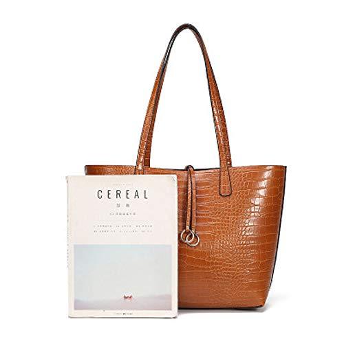 Stylesty Designer Shopping PU Tote Bag Set, Fashion Women Shoulder Handbags with Key Ring (Medium, Newbrown)