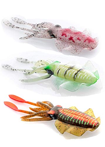 Fishing Lures, Saltwater Soft Bait Squid Skirt Fishing Tackle Glow in Dark Luminous Octopus Trolling (3/5/6pcs),Mahi Tuna Marlin Sails Wahoo (3 Piece Set[5.91inch])