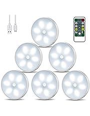 Racokky Led-nachtlampje met bewegingsmelder, led-kastverlichting met afstandsbediening, USB-oplaadbaar, kastlicht met auto/on/off-modi, intelligente binnenverlichting (6 stuks)
