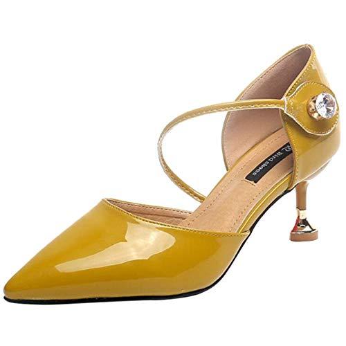 In Punta 5 Con Diamanti Beige Willsego Dimensione colore Sandalo Donna Velcro A Giallo Uk xTqtwX4wP