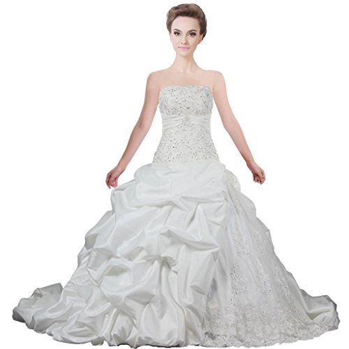 ANTS Women's Strapless Ball Gown Ruched Taffeta Bridal Dress Lace Up Back Size 14 US Ivory