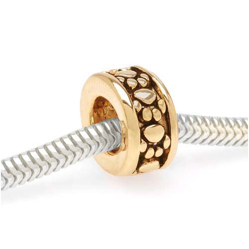 22K Gold Plated Paw Print Pattern Spacer - European Style Large Hole Bead (1)
