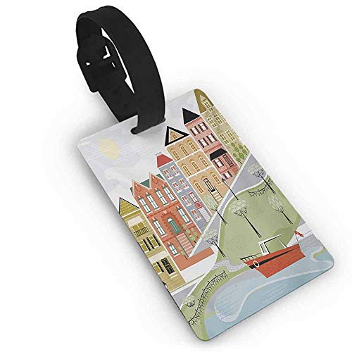 Boarding pass Cityscape,Quaint Village Street and Colorful Building by River Cartoon Illustration Print,Green Teal Travel Luggage Label