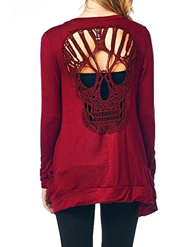 Leadingstar Women's Solid Color Long Sleeve Thin Collage Hollow Skull Slim Knit Cardigan Wine Red S