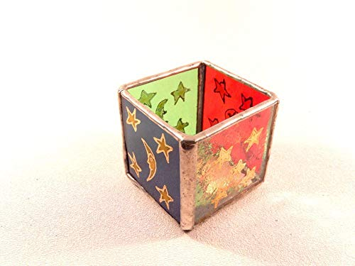 Star Candle, Stained Glass, Enameled Star Candle, Blue, Red, Gold, Multi Colored