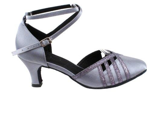 Ladies Women Ballroom Dance Shoes Very Fine EKSA3530 SERA 2.5'' Heel with Heel Protectors (7.5, Grey Satin & Grey Stardust Trim)