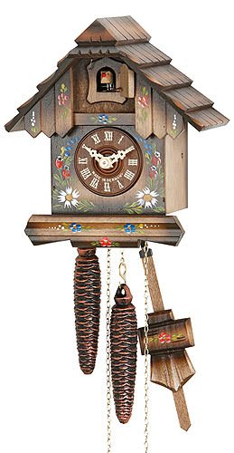 - German Cuckoo Clock 1-day-movement Chalet-Style 8.00 inch - Authentic black forest cuckoo clock by Hekas
