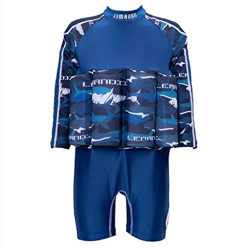 UV UPF 50+ Float Suit Girls Rash Guard Swimsuit with Adjustable Buoyancy Long Sleeve Back Zippers (Height:35.4''-39.4''/Weight:26.4lb-33lb, Blue Shark)