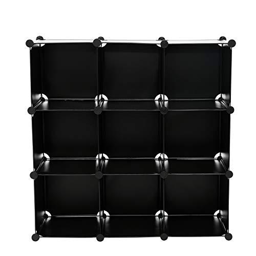 C&AHOME - 9 Cube Storage Organizer Closet Shelf DIY Bookcase Toy Rack, Black