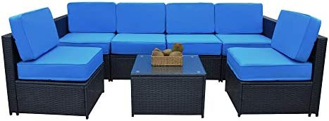 MCombo Patio Furniture Sectional 7 Pieces Wicker Sofa Set Outdoor All-Weather Seating Couch Black Rattan Conversation Chair