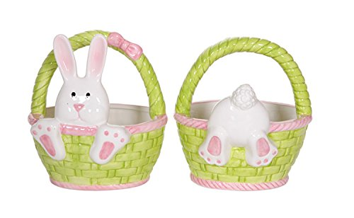 Hopping Fun Bunny Baskets Pink and Green Candy Dishes Set of 2 Ceramic