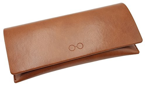 Eyeglasses Sunglass Case Bifold Leather Soft Eyewear Holder Pouch Sleeve Slim Women (Brown)