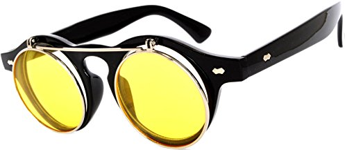 Flip Up Steampunk Vintage Retro Round Circle Gothic Hippie Colored Plastic Frame Sunglasses Yellow Lens - Online Glasses Retro