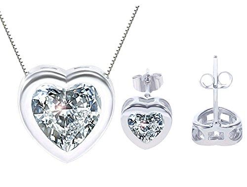 Designer Heart Necklace Set - KORPIKUS Crystal Jewel Shiny Silver ' Heart ' Necklace & FREE Earrings Set in Designer Gift Bag!