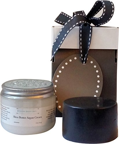 Giftwrapped Gift for Men. Men's Grooming Kit: Unscented Natural Coconut Oil Shaving Soap with Charcoal and Bentonite and Unscented Argan Shea Butter Hand and Body Cream Men's Grooming Basics Gift Set