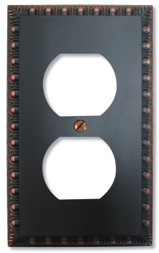 Renaissance Dark Bronze Wall - Amerelle Egg & Dart Single Duplex Cast Metal Wallplate in Aged Bronze