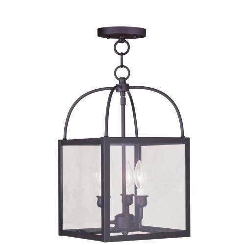 Livex Bronze Flush Mount Light Fixture - Livex Lighting 4037-07 Milford 3-Light Convertible Hanging Lantern/Ceiling Mount, Bronze
