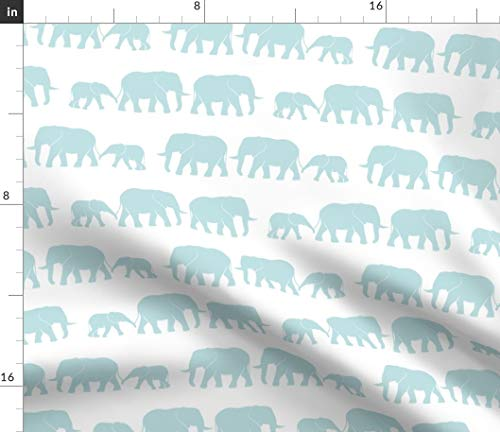 - Blue Elephant March Fabric - Elephants On White Parade Baby Trendy Cute Wallpaper Print on Fabric by The Yard - Sport Lycra for Swimwear Performance Leggings Apparel Fashion